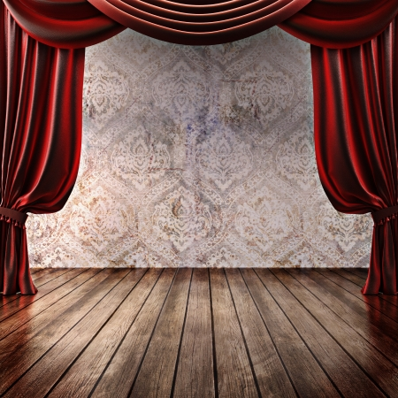 Wood stage background with theatrical curtains ,advertisement, music,comedy or performing arts concept with   room for text or copy space advertisement  Part of a stage concept series
