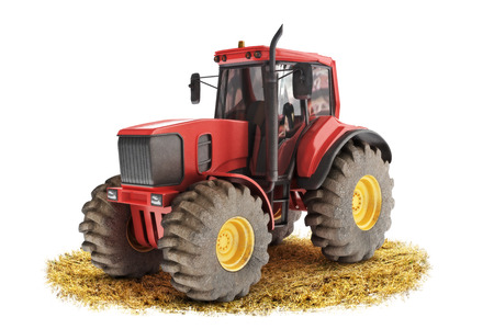 Red generic tractor positioned on a field with a white background Stock Photo