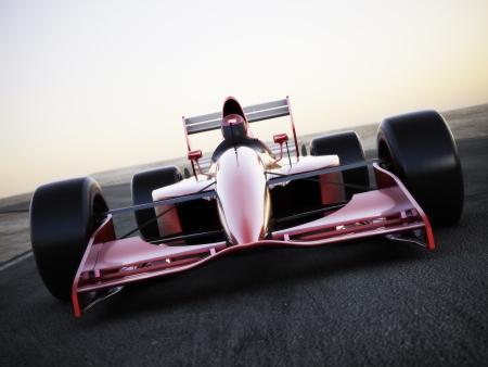 Raceauto racen op een track vooraanzicht met motion blur