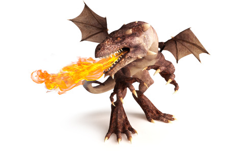 Fire breathing dragon on a white background  Room for text or copy space Stock Photo