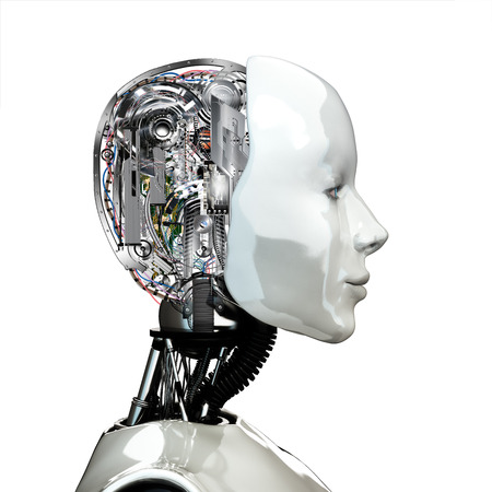 A robot woman head with internal technology ,side view isolated on white background  photo