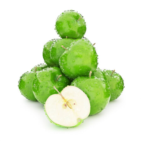 Juicy wet group of green apples on a white background Stock Photo - 25284387