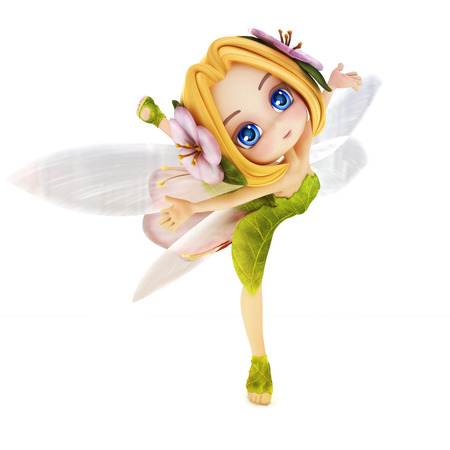 Cute toon ballerina fairy on a white background photo