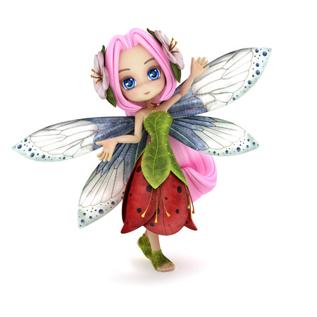 manga girl: Cute toon fairy posing on a white background