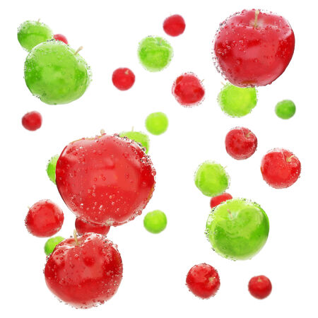 Red and green wet apples background photo