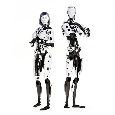 Female and male cyber robot posing on a white background  Stock fotó