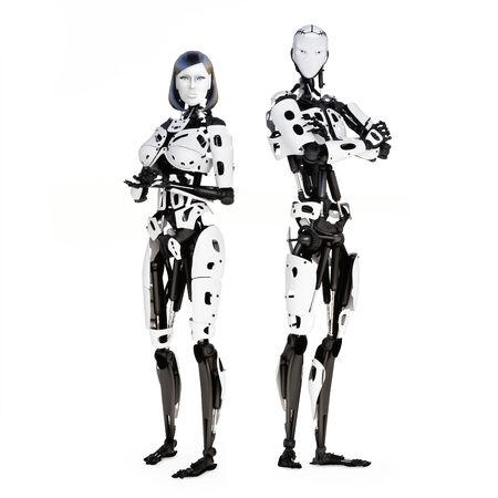 Vrouwelijke en mannelijke cyber robot poseren op een witte achtergrond Stockfoto