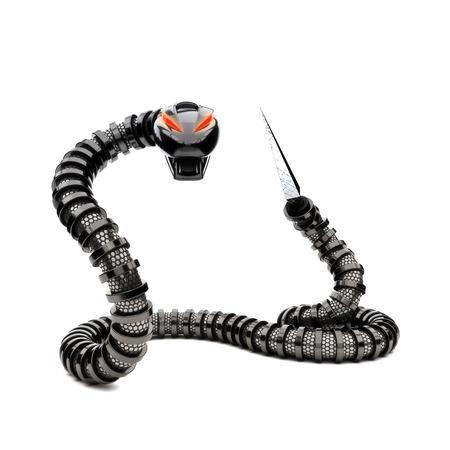 Futuristic robot snake on a white background photo