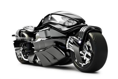 白い背景の上の未来的なカスタム バイク コンセプト
