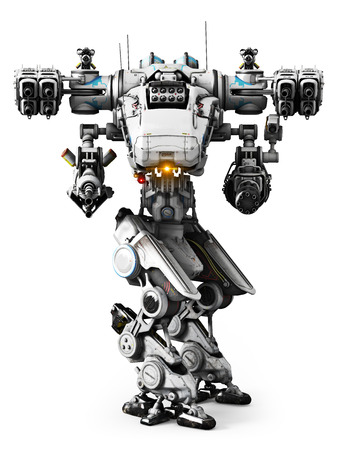 future: White Mech weapon with full array of weapons aimed on a white background