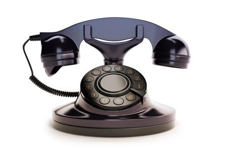 Office Retro Telephone Black on a white background