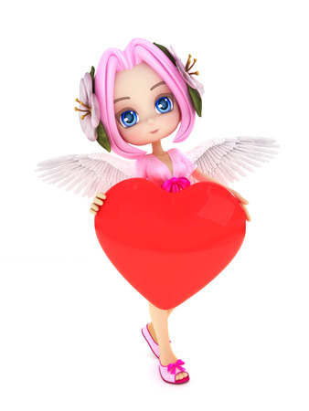 Cupid anime with wings and a heart with room for text or copy space advertisement isolated on a white background