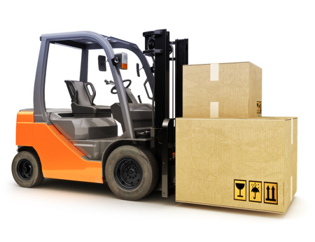 Forklift with shipping boxes on a white background