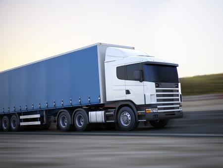 Camión en la carretera concepto 3d modelo genérico de un camión de carga que viaja por la carretera con el desenfoque de movimiento Espacio para texto o copia espacio Foto de archivo