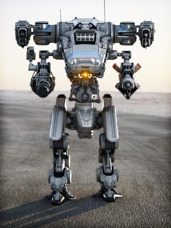 指される銃の完全な配列を持つロボット未来メカ武器