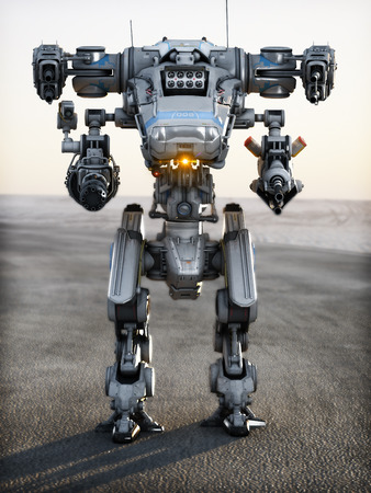 Robot Futuristic Mech weapon with full array of guns pointed