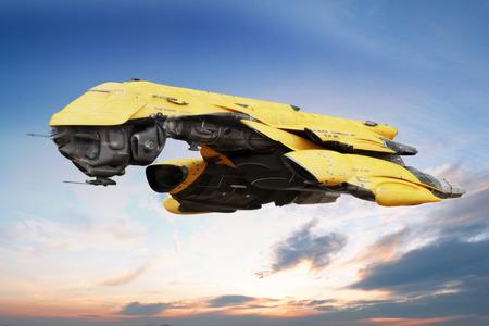 Science fiction scène van een futuristische schip vliegen door de lucht