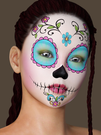 Beautiful woman with unique face painted makeup  Photo realistic 3d model scene photo