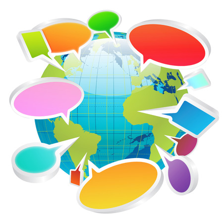 information median: Social media chat bubbles all over the world concept