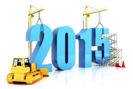 Jahr 2015 Wachstum, Gebäude, Verbesserung in der Wirtschaft oder im allgemeinen Konzept im Jahr 2015, auf einem weißen Hintergrund