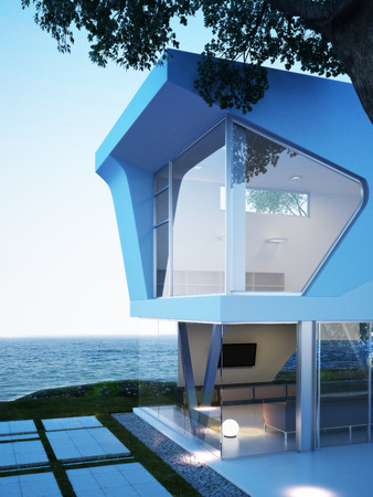 3d bungalow: Modern Oceanside architecture with an ocean view