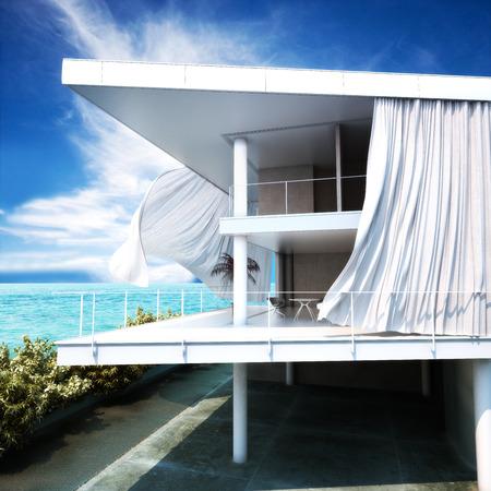case moderne: Architettura moderna a cielo aperto con vista sull'oceano Archivio Fotografico