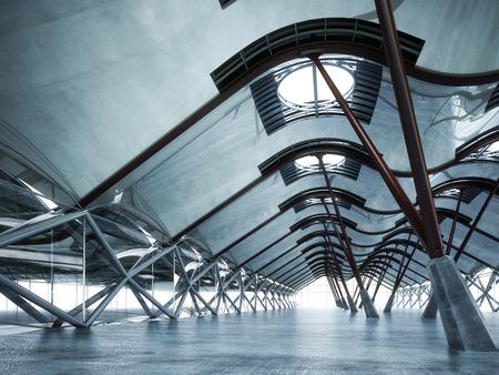 モダンな未来的な空の抽象的なインテリア 写真素材