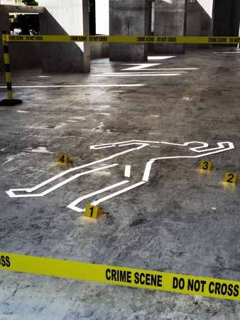 murder scene: Crime scene close up Stock Photo