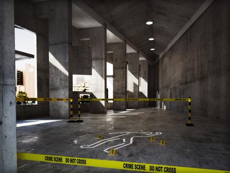 Crime scene in een leeg gebouw Stockfoto