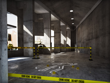 crime scene: Escena del crimen en un edificio vacío Foto de archivo