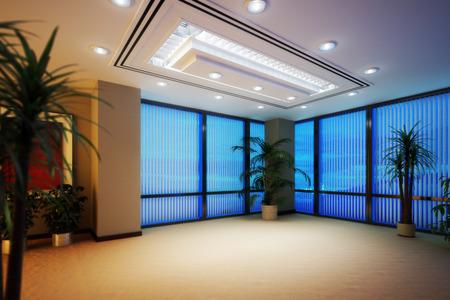 Bureau d'affaires vide ou appartement intérieur de salle de grande hauteur