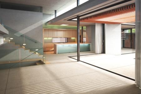 Mehrere leere Ebene Innenraum einer Residenz mit Open-Air-Terrasse Standard-Bild