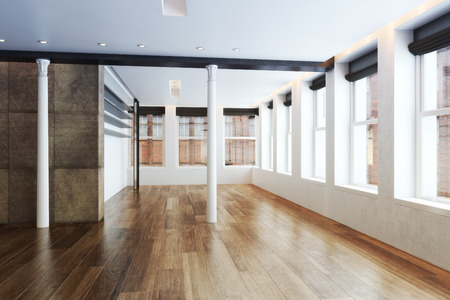 open spaces: Empty Highrise apartment with column accent interior and hardwood floors  Stock Photo