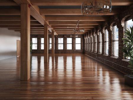 Lege kamer interieur van een woning of kantoorruimte met rustieke balken en houten vloeren Stockfoto
