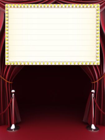 room for text: Marquee with curtains, red carpet and barriers with room for text or copy space