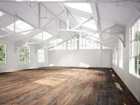 堅い木製の床と天窓商業インテリア