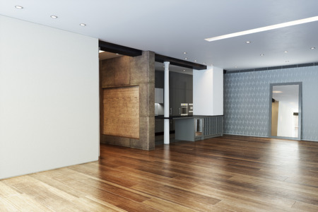 home office interior: Empty Highrise apartment with column accent interior and hardwood floors  Stock Photo