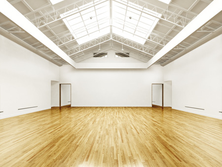 Commercial interior with hard wood floors and skylights photo
