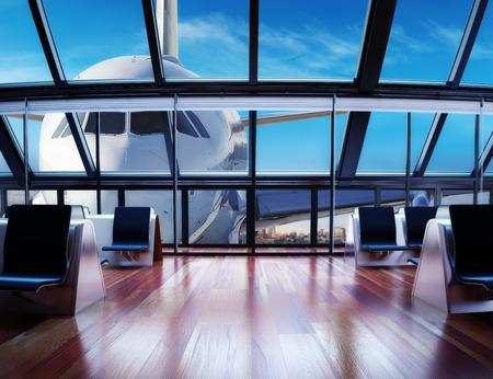cestování: Moderní letištní terminál pro cestující s městem pozadí