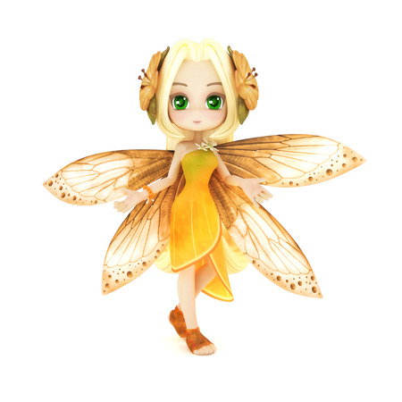 anime: Cute toon fairy posing on a white background