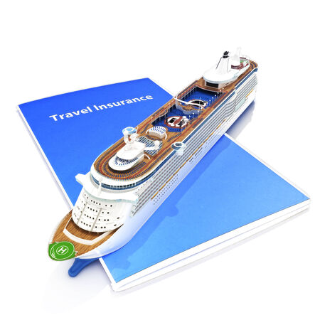 Travel Insurance concept with cruise ship on a white background