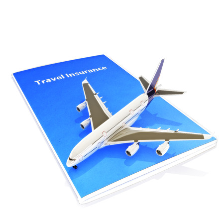 life insurance: Travel Insurance concept with Jet aircraft on a white background  Stock Photo