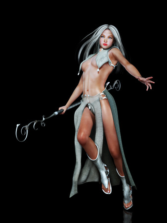 Female elf fantasy character in action with a black background  Stock Photo