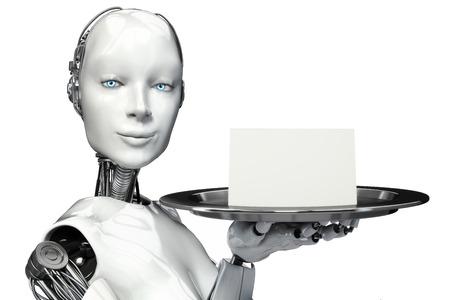 robot: Robot femenino que sostiene una bandeja de servir con un anuncio de la tarjeta en blanco con espacio para texto o copia espacio