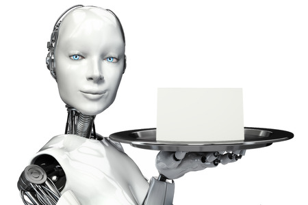 Weiblicher Roboter holding ein Tablett mit einer leeren Karte Werbung mit Raum für Text oder Kopie Raum