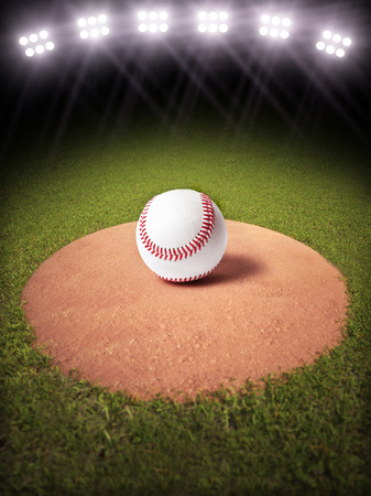 3d rendering of a Baseball on a pitchers mound of Lighted Baseball field  Room for text or copy space photo