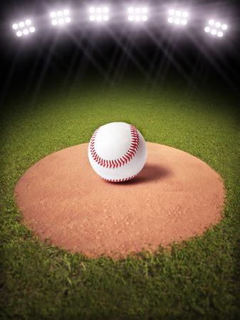 campo de beisbol: Representación 3D de una pelota de béisbol en un montón de lanzadores de béisbol iluminado Habitación campo para texto o espacio de la copia Foto de archivo