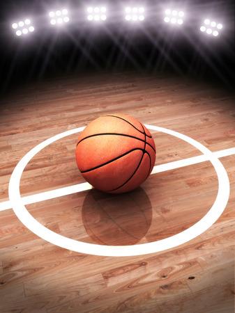 baloncesto: Representaci�n 3D de una pelota de baloncesto en una cancha con iluminaci�n del estadio con espacio para texto o espacio de la copia