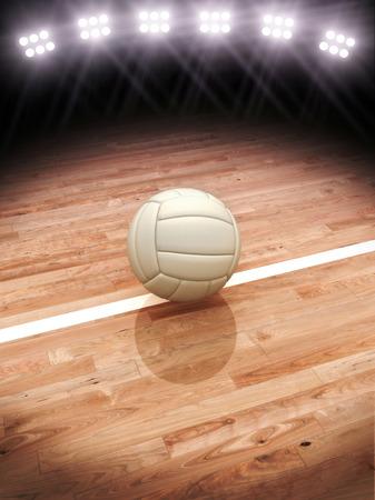 pelota de voley: Representación 3D de una pelota de voleibol en una cancha con iluminación del estadio con espacio para texto o copia espacio Foto de archivo