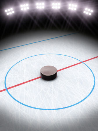 hockey ice: Ice hockey under the lights  Room for text or copy space   Stock Photo